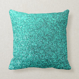 Turquoise faux glitter graphic throw pillow