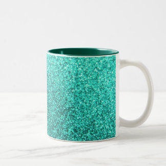 Turquoise faux glitter graphic Two-Tone coffee mug