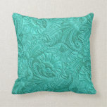 Turquoise Faux Laether Print Throw Pillow at Zazzle