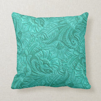 Turquoise Faux Laether Print Throw Pillow