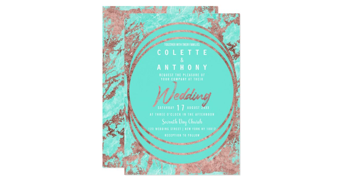 Turquoise Faux Rose Gold Teal Marble Wedding Invitation