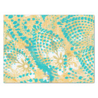 Turquoise Feather with Yellow Handmade Design Tissue Paper