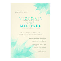 Turquoise Felt Floral Victorian Wedding Invitation