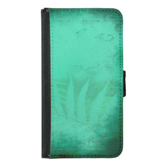 Turquoise Fern Distressed Teal Wallet Phone Case For Samsung Galaxy S5