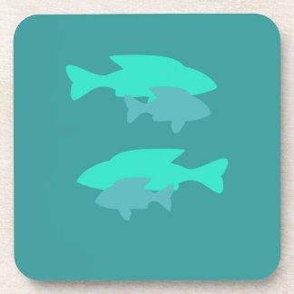 Turquoise fish Cork Coaster