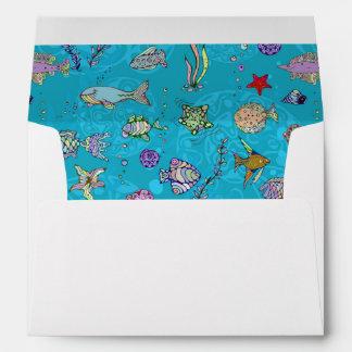 Turquoise Fish Pattern Envelope