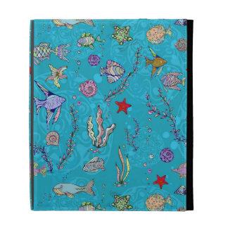 Turquoise Fish Pattern iPad Folio Cases