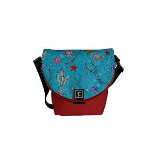 Turquoise Fish Pattern Messenger Bag
