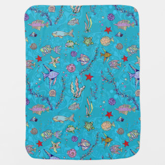 Turquoise Fish Pattern Swaddle Blanket