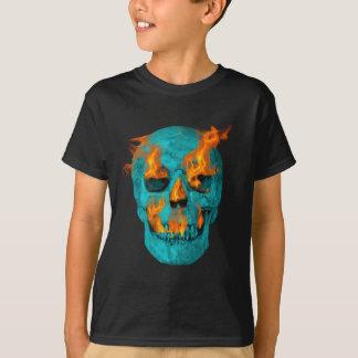 Turquoise Flaming Skullturq T-Shirt