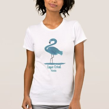 Beach Themed Turquoise Flamingo Fine Art Painting Cape Coral T-Shirt