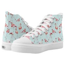 Turquoise flamingo tropical bird pattern High-Top sneakers