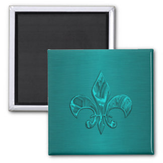 Turquoise Fleur de Lis 2 Inch Square Magnet