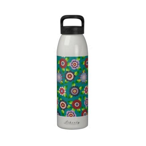 Turquoise floral design Bottle Reusable Water Bottle