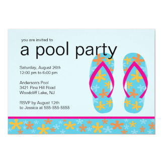 Turquoise Floral Flip Flops Pool Party Invitation