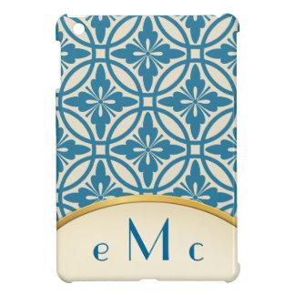 Turquoise Floral Geometric Monogram Case For The iPad Mini
