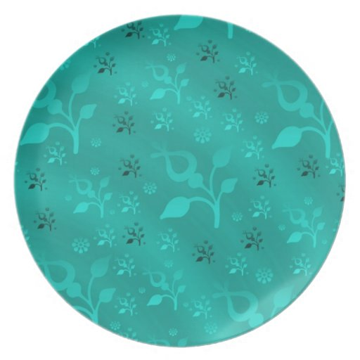 Turquoise floral mix dinner plate