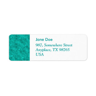 Turquoise floral mix label