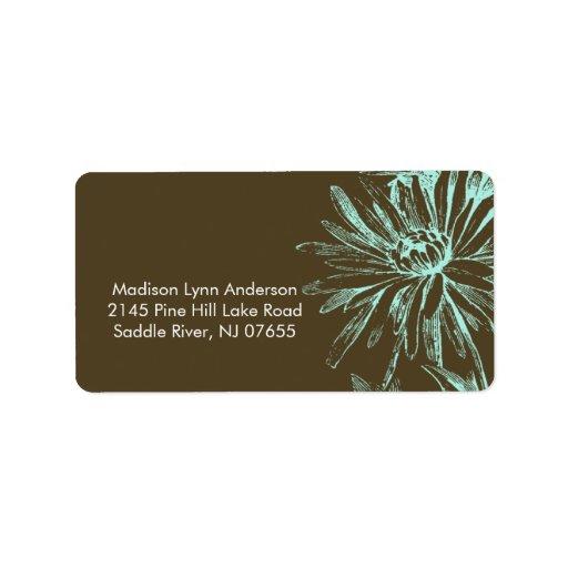Turquoise Floral on Brown Return Address Labels.