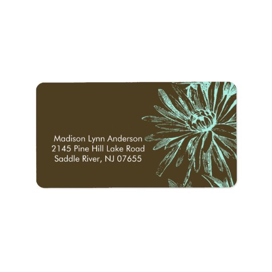Turquoise Floral on Brown Return Address Labels. Label