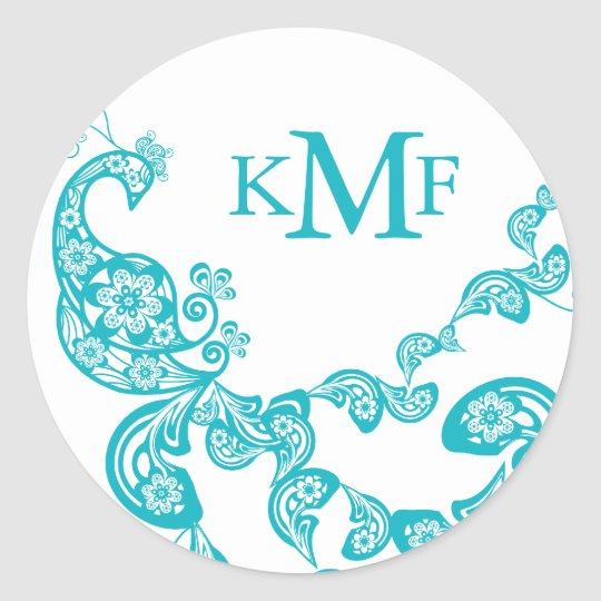 Turquoise Floral Paisley Peacock Wedding Favor Classic Round Sticker