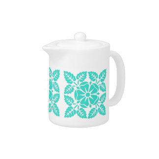 Turquoise Floral Pattern Teapot