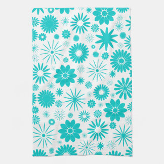 Turquoise Floral Pattern Towel