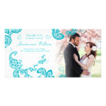 Turquoise Floral Peacock Chic Wedding Thank You Card