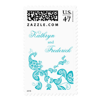 Turquoise Floral Peacock Invitation Stamps Postage
