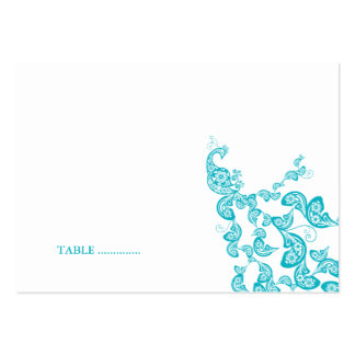Turquoise Floral Peacock (R) Custom Place Card Business Card