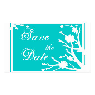 Turquoise floral Save the Date business cards