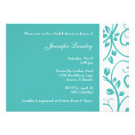 Turquoise Floral Vine Bridal Shower Invitation