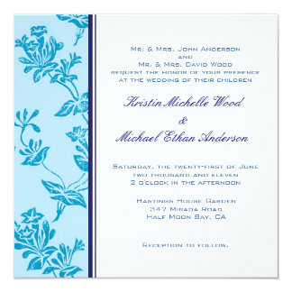 Turquoise Floral Wedding Invitation
