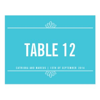 Turquoise Floral Wedding Table Number Postcard