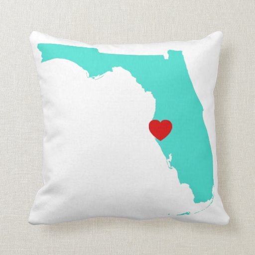 Turquoise florida with red heart throw pillows zazzle for Turquoise and red throw pillows