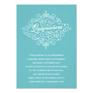 Turquoise Flourish Quinceanera Party Card