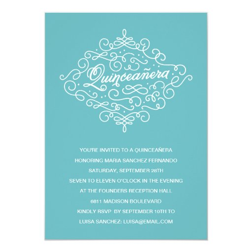 Turquoise Flourish Quinceanera Party Custom Invites