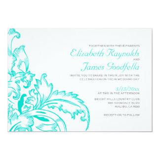 Turquoise Flourish Wedding Invitations