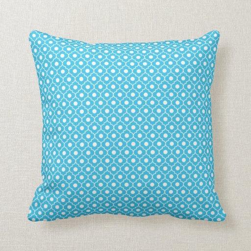 Turquoise Flower Argyle Pattern Cotton Pillow 1