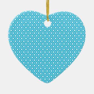 Turquoise Flower Argyle Pattern Heart Ornament