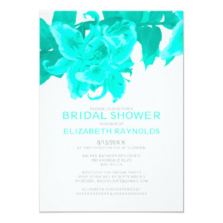 Turquoise Flower Bridal Shower Invitations Card