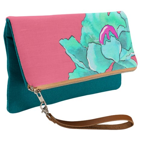 Turquoise Flower Clutch