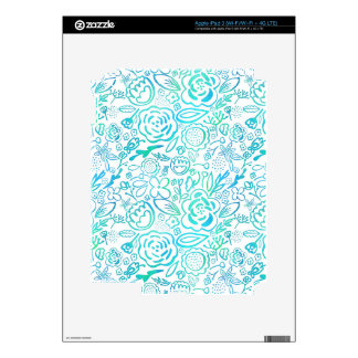 Turquoise Flower Explosion iPad 3 Decals