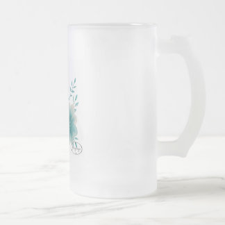 Turquoise Flower Frosted Glass Beer Mug