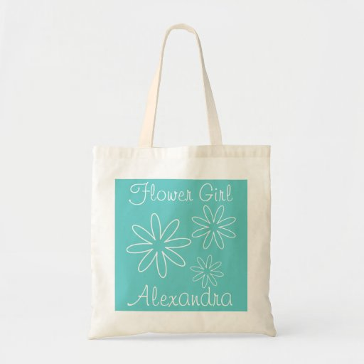 Turquoise flower girl tote bag | Personalized name