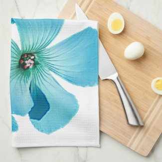 TURQUOISE FLOWER POWER HAND TOWEL