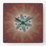 Turquoise Flower Wall Clock without Numbers