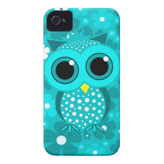 turquoise flowers and cute owl iPhone 4 Case-Mate cases
