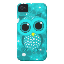 turquoise flowers and cute owl iPhone 4 Case-Mate case