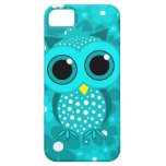 turquoise flowers and cute owl iPhone 5 cover